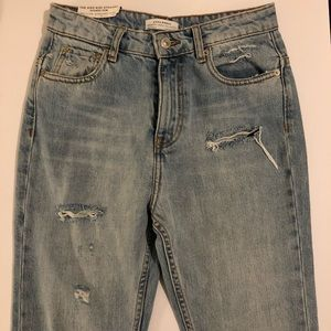 🍭 Zara high rise Straight jeans distressed